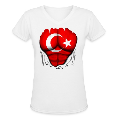 Turkey Flag Ripped Muscles, six pack, chest t-shirt - Women's V-Neck T-Shirt
