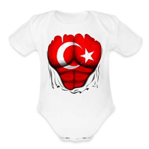 Turkey Flag Ripped Muscles, six pack, chest t-shirt - Organic Short Sleeve Baby Bodysuit