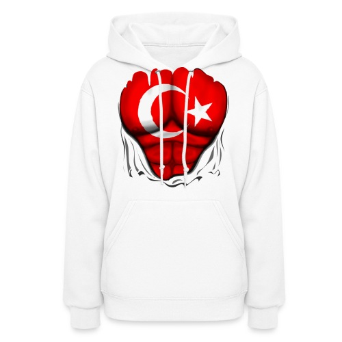 Turkey Flag Ripped Muscles, six pack, chest t-shirt - Women's Hoodie