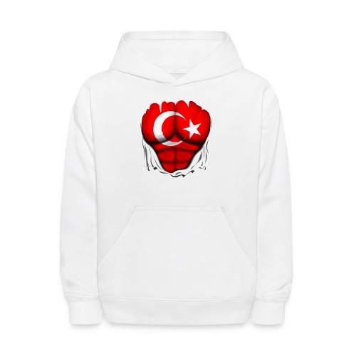 Turkey Flag Ripped Muscles, six pack, chest t-shirt - Kids' Hoodie