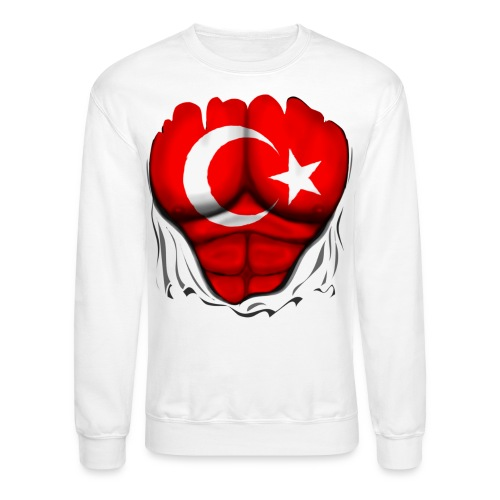 Turkey Flag Ripped Muscles, six pack, chest t-shirt - Crewneck Sweatshirt