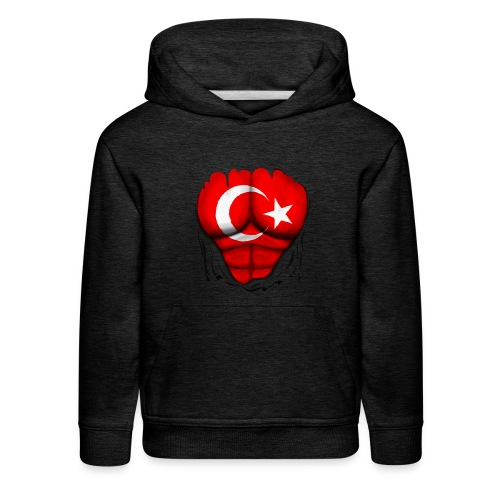 Turkey Flag Ripped Muscles, six pack, chest t-shirt - Kids' Premium Hoodie