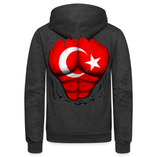 Turkey Flag Ripped Muscles, six pack, chest t-shirt - Unisex Fleece Zip Hoodie