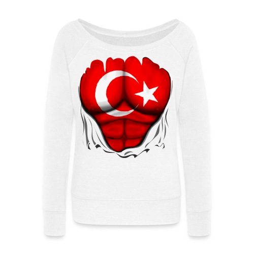 Turkey Flag Ripped Muscles, six pack, chest t-shirt - Women's Wideneck Sweatshirt