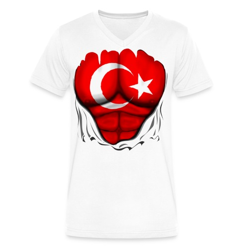 Turkey Flag Ripped Muscles, six pack, chest t-shirt - Men's V-Neck T-Shirt by Canvas