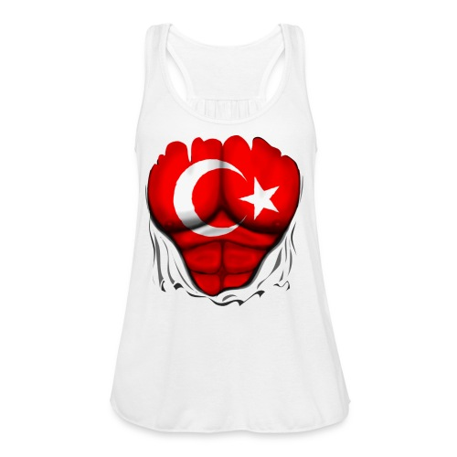 Turkey Flag Ripped Muscles, six pack, chest t-shirt - Women's Flowy Tank Top by Bella