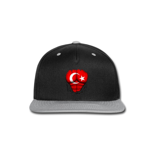 Turkey Flag Ripped Muscles, six pack, chest t-shirt - Snap-back Baseball Cap
