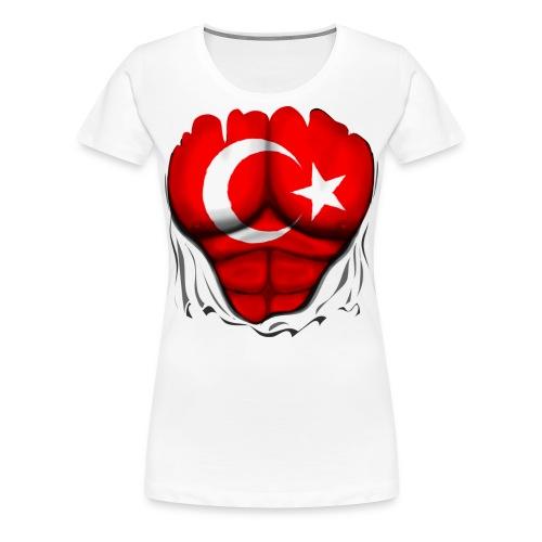 Turkey Flag Ripped Muscles, six pack, chest t-shirt - Women's Premium T-Shirt