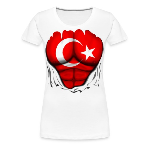 Turkey Flag Ripped Muscles, six pack, chest t-shirt - Women's Premium T-Shirt