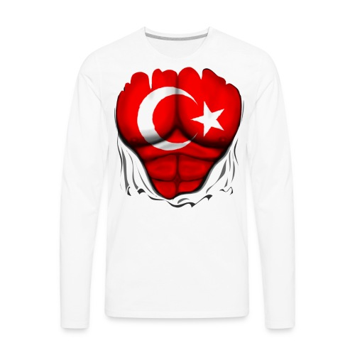 Turkey Flag Ripped Muscles, six pack, chest t-shirt - Men's Premium Long Sleeve T-Shirt