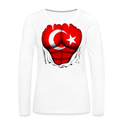 Turkey Flag Ripped Muscles, six pack, chest t-shirt - Women's Premium Long Sleeve T-Shirt