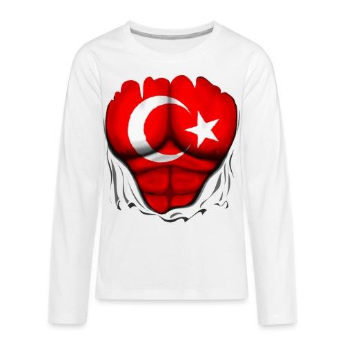 Turkey Flag Ripped Muscles, six pack, chest t-shirt - Kids' Premium Long Sleeve T-Shirt