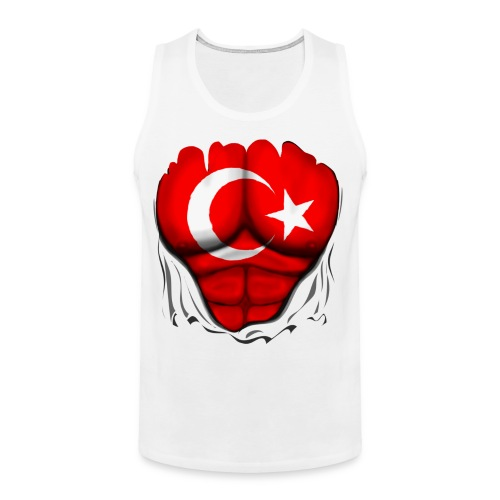 Turkey Flag Ripped Muscles, six pack, chest t-shirt - Men's Premium Tank