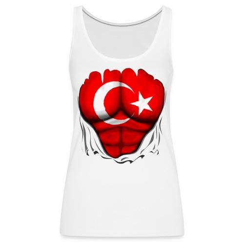 Turkey Flag Ripped Muscles, six pack, chest t-shirt - Women's Premium Tank Top