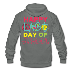 (Double Sided) Happy Last Day - Peace, Love, Summer Break - Unisex Fleece Zip Hoodie by American Apparel