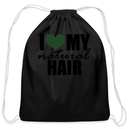 I Love My Natural Hair Black Tank - Cotton Drawstring Bag