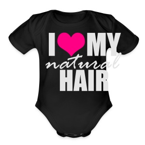 I Love My Natural Hair Black Tank - Short Sleeve Baby Bodysuit