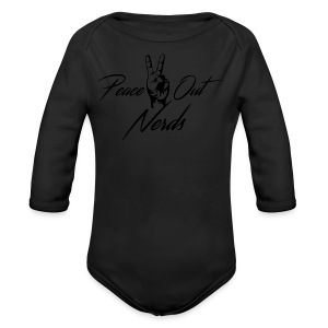 Peace Out Nerds Black Text - Long Sleeve Baby Bodysuit