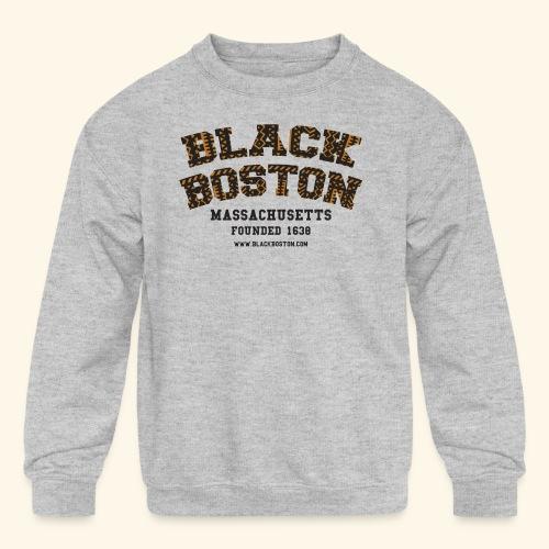 Souvenir Buttons labeled Black Boston Massachusetts - Kid's Crewneck Sweatshirt