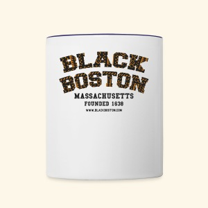 Souvenir Buttons labeled Black Boston Massachusetts - Contrast Coffee Mug
