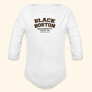 Souvenir Buttons labeled Black Boston Massachusetts - Long Sleeve Baby Bodysuit