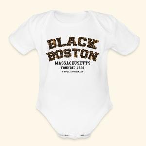 Souvenir Buttons labeled Black Boston Massachusetts - Short Sleeve Baby Bodysuit