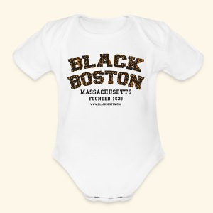 Souvenir Buttons labeled Black Boston Massachusetts - Short Sleeve Baby Bodysuit