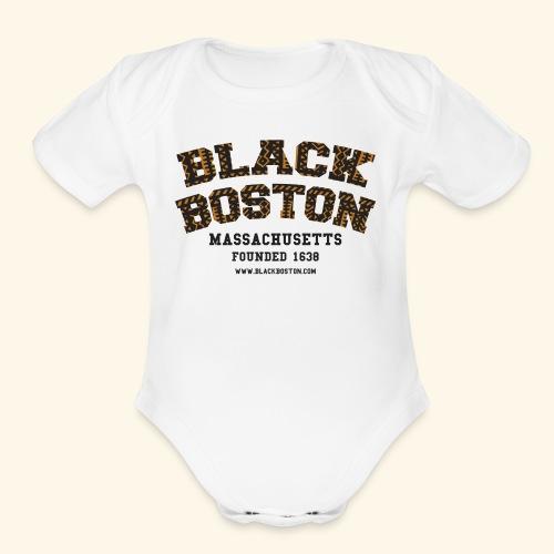 Souvenir Buttons labeled Black Boston Massachusetts - Organic Short Sleeve Baby Bodysuit