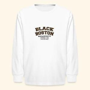 Souvenir Buttons labeled Black Boston Massachusetts - Kids' Long Sleeve T-Shirt
