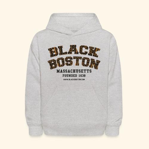 Souvenir Buttons labeled Black Boston Massachusetts - Kids' Hoodie