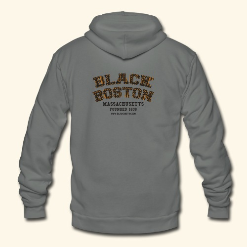 Souvenir Buttons labeled Black Boston Massachusetts - Unisex Fleece Zip Hoodie