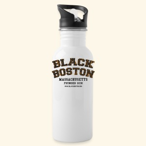 Souvenir Buttons labeled Black Boston Massachusetts - Water Bottle