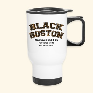 Souvenir Buttons labeled Black Boston Massachusetts - Travel Mug