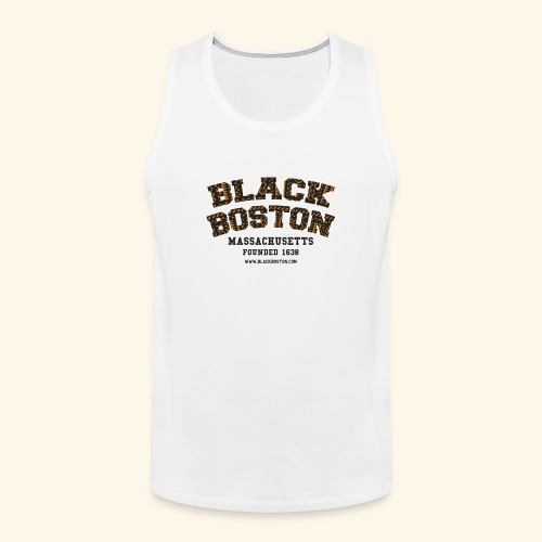 Souvenir Buttons labeled Black Boston Massachusetts - Men's Premium Tank