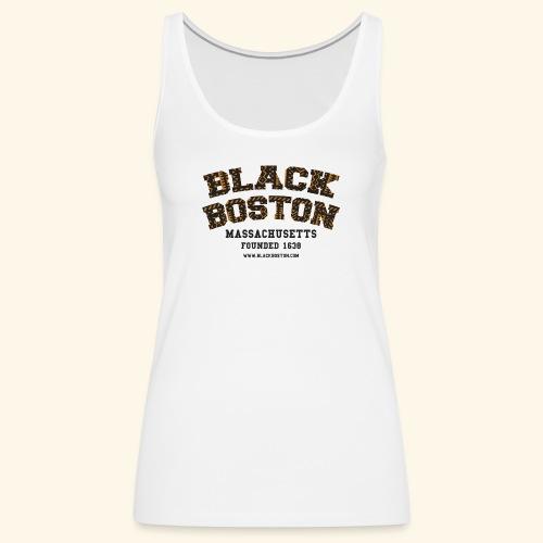 Souvenir Buttons labeled Black Boston Massachusetts - Women's Premium Tank Top