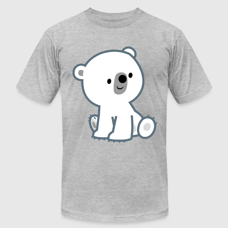 Sweet Cartoon Polar Bear Cub by Cheerful Madness!! T-Shirts - Men's T-Shirt by American Apparel