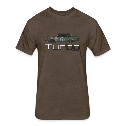 Volvo 242 Turbo Track Car (Olive) - Fitted Cotton/Poly T-Shirt by Next Level