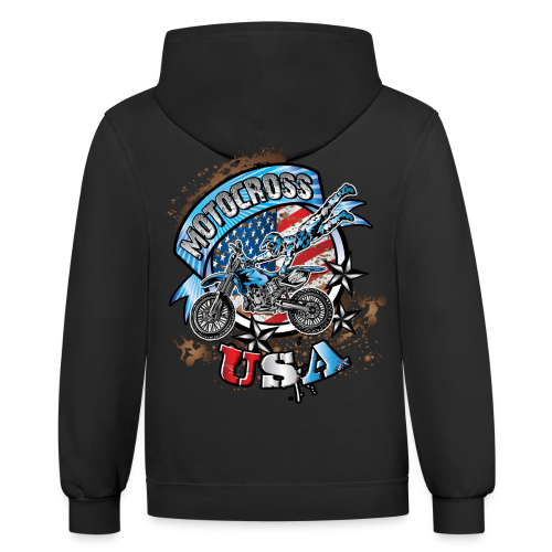 Motocross Freestyle USA BACK - Contrast Hoodie