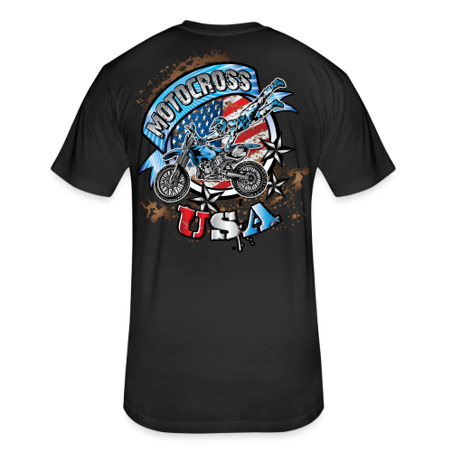 Motocross Freestyle USA BACK - Fitted Cotton/Poly T-Shirt by Next Level