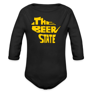 The Beer State (Gold)  - Long Sleeve Baby Bodysuit