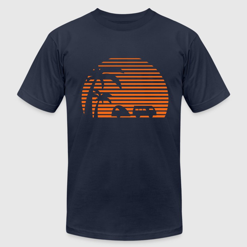 camper sun bus surfing beach sunset camping palms T-Shirts - Men's T-Shirt by American Apparel