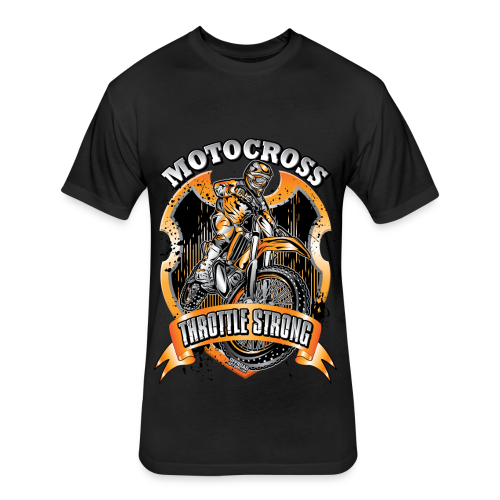 Throttle Strong Motocross - Fitted Cotton/Poly T-Shirt by Next Level