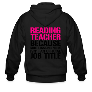 Reading Teacher... Ninja Isn't an Official Job Title | White + Metallic Silver - Men's Zip Hoodie