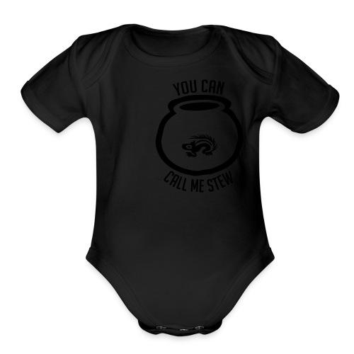 Unisex Shirt w/white print - Organic Short Sleeve Baby Bodysuit