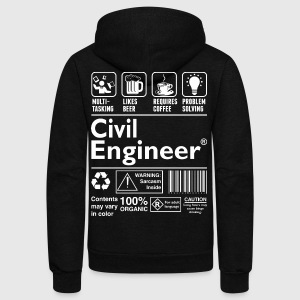 Beer Require Coffee Problem Solving Civil Engineer - Unisex Fleece Zip Hoodie by American Apparel