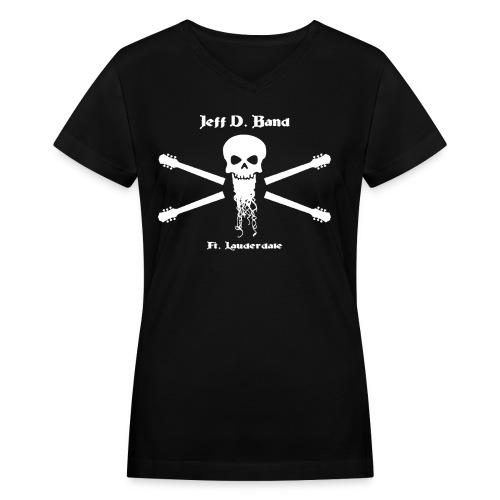 Jeff D. Band Tall Sized T-Shirt (m) - Women's V-Neck T-Shirt