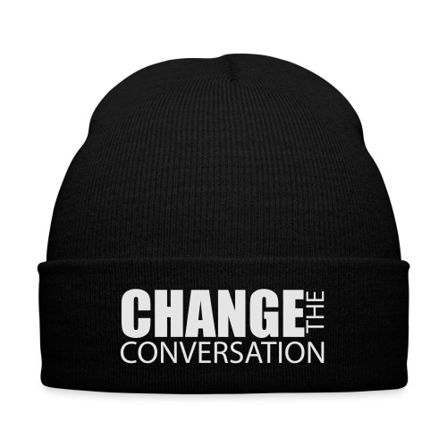 Change the Conversation Wide Neck Tee - Knit Cap with Cuff Print