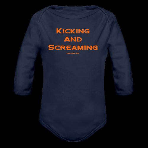 Kicking and Screaming - Mens T-shirt - Organic Long Sleeve Baby Bodysuit