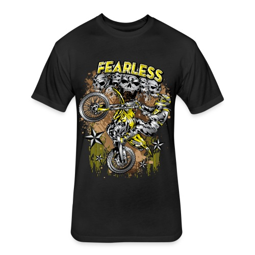Fearless Motocross Yellow - Fitted Cotton/Poly T-Shirt by Next Level