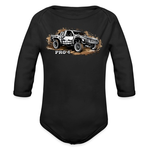 Pro 4 Race Truck - Organic Long Sleeve Baby Bodysuit